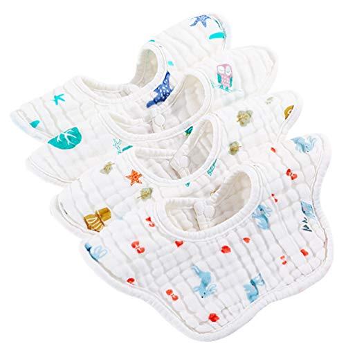 NUOBESTY 4 Stks Slabbetje Baby Bandana Katoen Kwijlen Slabbetjes 360 ° Draaien Maaltijd Slabbetje Speeksel Handdoek…