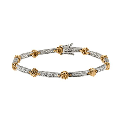 Brand New 1.00 Ct Channel Set Round Brilliant Cut Real Diamond Bracelet, 14k White & Yellow Gold by Prism Jewel