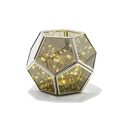 Decorative Geometric Terrarium Lantern - Hexagon Shape | Warm White LED Fairy Lights, Mirrored Glass, Battery Operated, Indoor Use