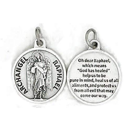 Religious Gifts Catholic Keepsake Gift 3/4-inch Dia Saint Raphael The Archangel with Prayer Proection Medal Pendant Charm