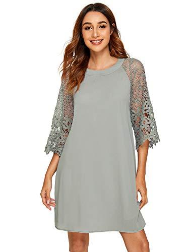MAKEMECHIC Women's Casual Crewneck Half Sleeve Summer Chiffon Tunic Dress Grey XL