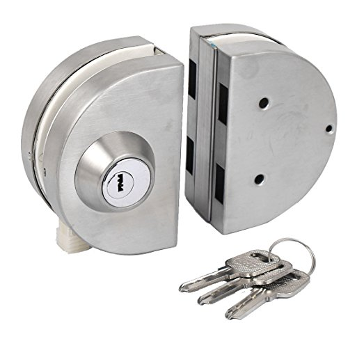 uxcell 10-12mm Thickness Glass Double Bolts Type Swing Push Sliding Door Lock
