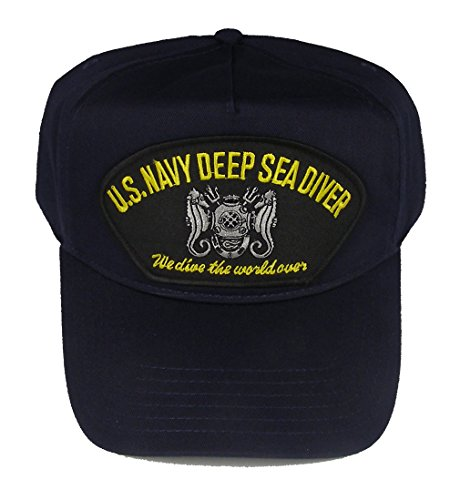 Navy Deep Sea Diver - U.S. NAVY DEEP SEA DIVER We dive the world over HAT - Navy Blue - Veteran Owned Business