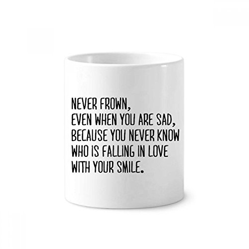Poetry Never Frown Always Smile Toothbrush Pen Holder Mug White Ceramic Cup 12oz