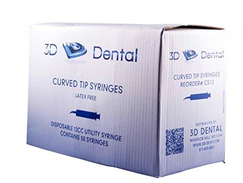 3D Dental CS12 US-12 Curved Tip Utility Syringe (Pack of 50)