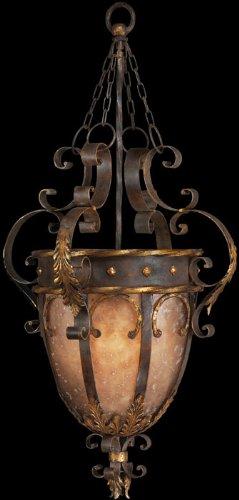 Light 3 Castile (Fine Art Lamps 219142, Castile Large Bowl Pendant, 3 Light, 450 Total Watts, Gold Leaf)