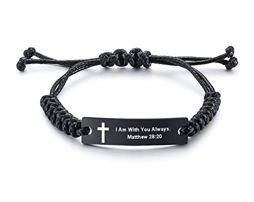 - Unisex Religous Scripture Quote Faith Christian Bible Verse Adjustable Cord Stainless Steel Inspirational ID Bracelets for Men Women