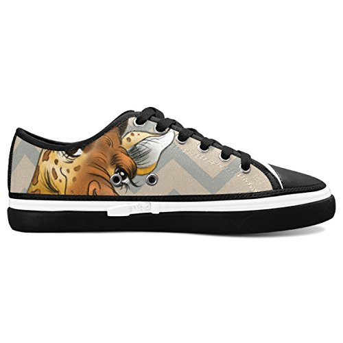 D-Story Custom Funny Giraffe And Stripe Womens Nonslip Canvas Shoes Fashion Sneaker hQzly5S