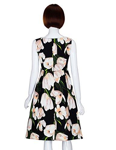 Adamaris Été Des Femmes Imprimé Floral V-cou À Manches Courtes Robe D'une Ligne De Fleurs D'épaisseur 329-noir