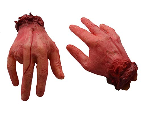 ALRBE TIN Fake Human Arm Hands Bloody Dead Body Parts Halloween Horror Bloody Body Parts Props Fake Arms Hands for Halloween Party and Cosplay 1 Pair (Hand)