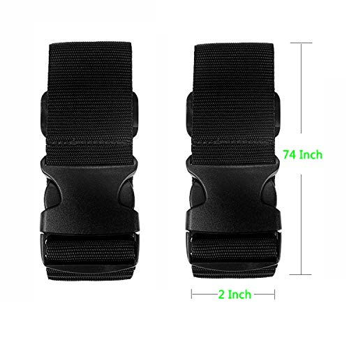 Strap Luggage, Strap for Suitcase Belt Luggage Travel Strap for Luggage TSA Approved With Adjustable Quick-release Buckle 2 Packs Black