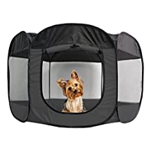 Furhaven Pet Products Portable Mesh Pet Playpen, Gray, Small