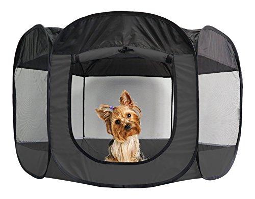 FurHaven Pet Playpen | Mesh Open-Air Dog Playpen/Exercise Pen, Gray, Small