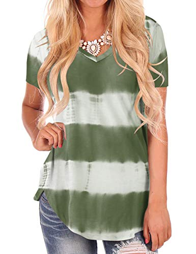 NIASHOT Women's Tie Dye T-Shirt Lightweight Cute Tees Short Sleeve V-Neck Tops Green S