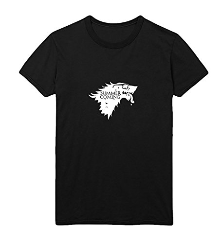 MYMERCHANDISE Summer Is Coming Wolf Game Of Thrones Sunglasses Men Men's T-Shirt 100% Cotton Black Shirt Mens XL Men Black T-Shirt for $<!--$14.95-->