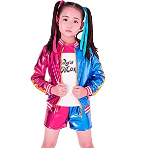 SUPETE Kids Girls Coat Shorts Tops Set Halloween Costume T-Shirt Jacket Shorts Kids Sizes Cosplay Clothes for Childrens (M=120CM, Red/Blue)