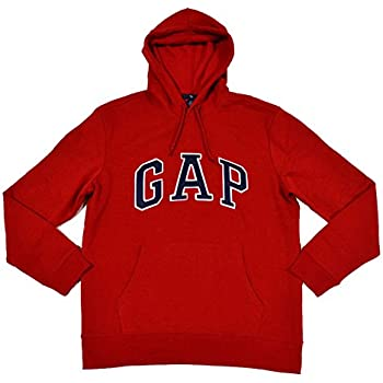 GAP Mens Fleece Arch Logo Pullover Hoodie (Red, Small)