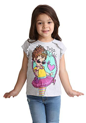 Disney Girls' Toddler Fancy Nancy Short Sleeve Graphic Tee, Grey -