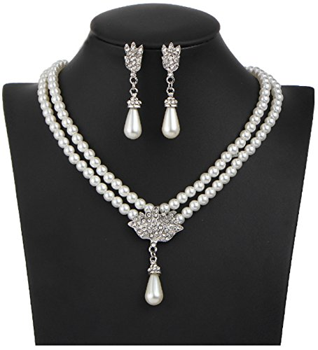 Wedding Party Elegant Double-strand Pearl Fashion Choker Earring Set (Set Strand Choker)