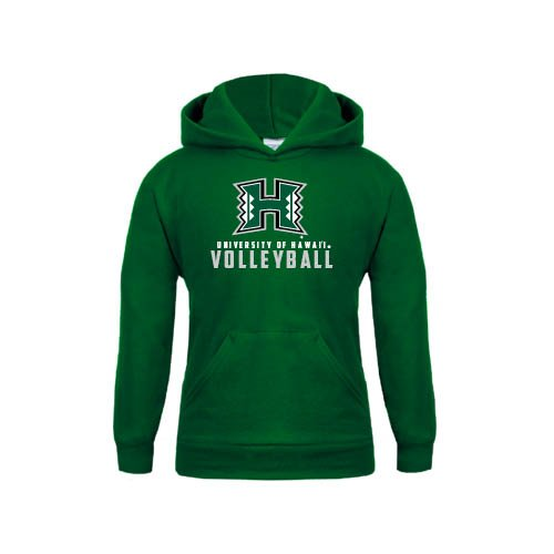 Hawaii Youth Dark Green Fleece Hoodie Volleyball