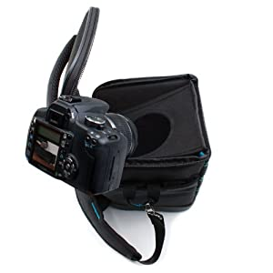 DSLR Camera and Lens Pouch Bag Case Bag with Adjustable Padded Shoulder Strap Sling and Weather Resistant Bottom by USA GEAR - Works With Sony Alpha a6300 , SLT-A68 , Cyber-shot DSC-RX10 III and More