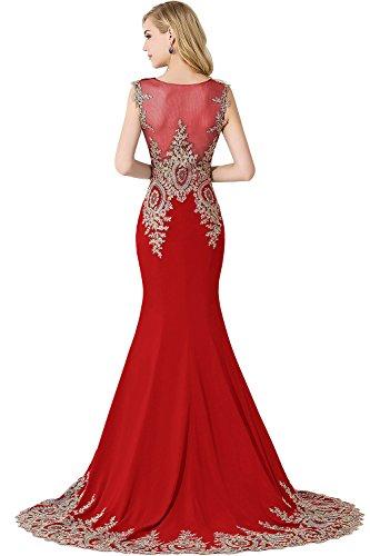 Applikation Ballkleider Abendkleid Damen Ärmellos Partykleid Mit Tüll Meerjungfrau Rot Babyonlinedress® Lang z1q4xxS