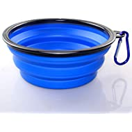 Axgo 1PC Foldable Silicone Dog Bowl Outfit Portable Travel Bowl for Dogs Feeder Utensils Outdoor Drinking Water Dog Bowl, Blue