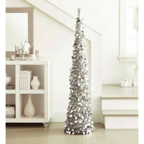 amazoncom silver tinsel tree 5 ft collapsible pop up slim decorative tree for valentines days mardis gras christmas new years and more