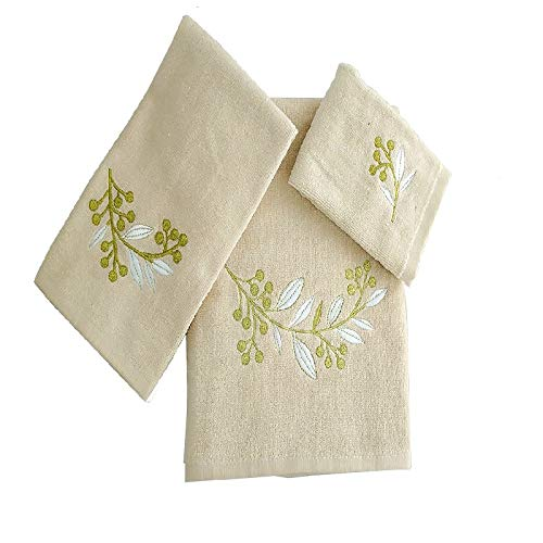 BH Home & Linen 3 Piece Decorative Embroidery Towel Set with Geometric, and Floral Designs Made of 100% Cotton. (Leafs Brunch Ivory) (Leaf Embroidery Design)