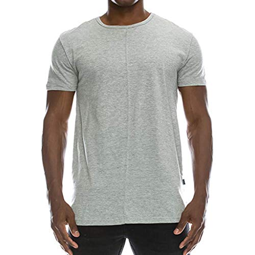 SFE Fashion Shirts,Mens Hipster Hip Hop Solid Extended Hemline Split Side T-Shirt Muscle Blouse Gray