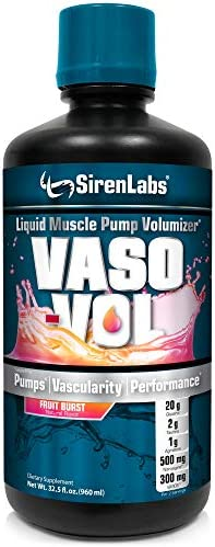 Siren Labs Vaso-VOL Liquid Muscle Pump Volumizer with Agmatine Sulfate – Pre Workout for Men to Take Your Workouts to The Next Level with Vascularity and Performance Fruit Burst