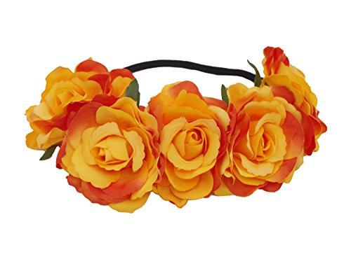 DreamLily Women's Hawaiian Stretch Flower Headband for Garland Party BC12 (Orange&Yellow)]()