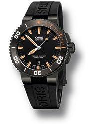 Oris Aquis Date Black Dial Orange Rubber Mens Watch 733-7653-4259RS