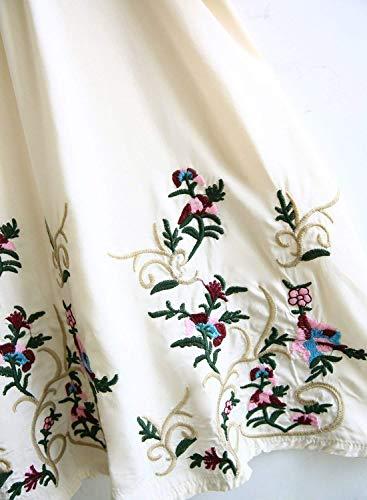 BIRAN Dsinvolte Chemisiers Large V Cou Shirt Fleur Et Elgante breal Fleur Ethnique 4 Fashion 3 Beige Haut Manches Vintage Femme Broderie Tunique Style Boho UTqwrUZv
