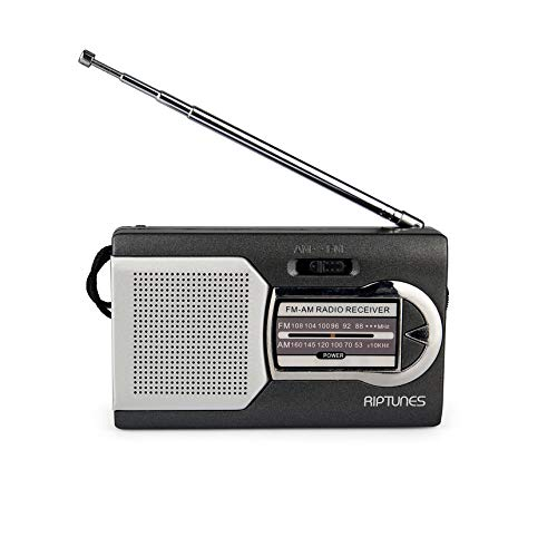 Riptunes AMFM Portable Battery Operated Pocket Radio Powered by 2 AA Batteries Black