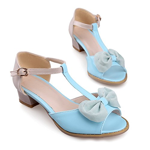 VogueZone009 Womens Open Peep Toes Low Heel PU Assorted Colors Sandals with Bowknot and T-strap Skyblue ub3FLsLH