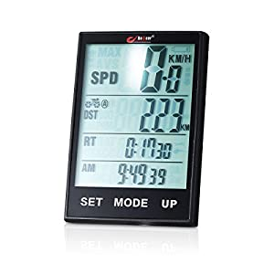 Wirless Bike Speedometer Computer - Multifunction Bicycle Cycle Cycling Odometer Computer Waterproof with Backlight Large LCD Screen