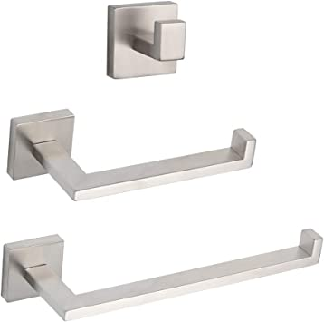 Brushed Finish Towel Ring Toilet Paper Holder Contemporary Stainless Steel Wall Mounted 2-Piece Bathroom Hardware Set