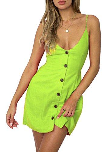 Back Silk Dress - ZESICA Women's Summer V Neck Spaghetti Strap Solid Color Button Down Beach Short Mini Dress