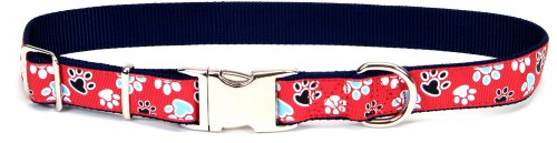 Pet Attire Ribbon Adjustable Nylon Collar with Aluminum Buckle 5/8