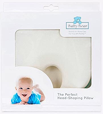 Baby Head Shaping Pillow ~ Perfect Baby Pillow for Newborn Organic Cotton ~ Baby Pillow for Sleeping to Prevent Flat Head ~ Luxury Baby Shower Gift & Baby Registry Gift