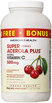 American Health Super Acerola Plus Chewable Wafers, 500 mg, Berry, 300 Count