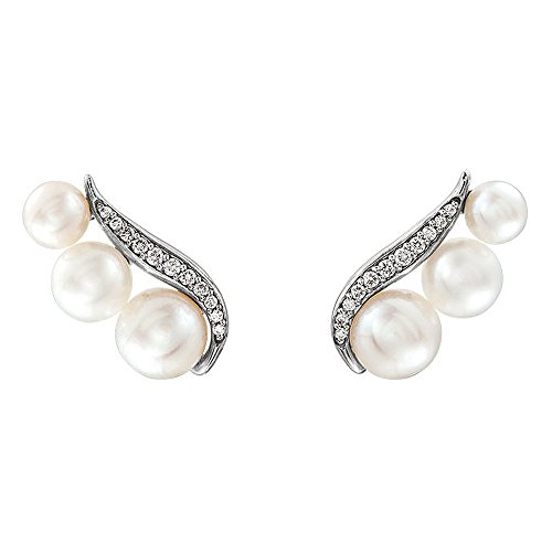 - 16mm 14k White Gold FW Cultured Pearl & 1/10 CTW Diamond Ear Climbers