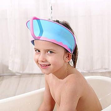 Amazon Com New Version Baby Shower Cap Bathing Cap Soft Adjustable Visor Hat Safe Shampoo Shower Bathing Protection Bath Cap For Toddler Baby Kids Children Dark Blue Beauty