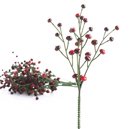 Factory Direct Craft Bundle of Red and Burgundy Artificial Berry Picks for Holiday and Home Decor
