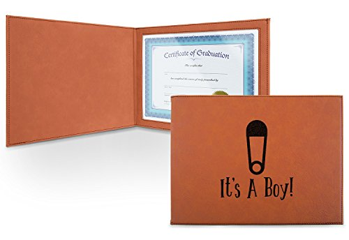Baby Shower Leatherette Certificate Holder - Front (Personalized) by RNK Shops