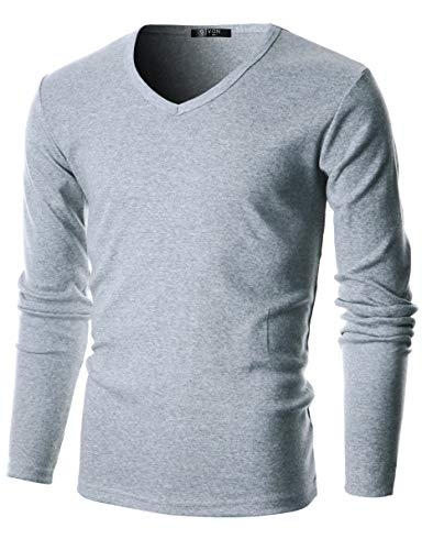 Flice Cotton Long Sleeve Lightweight Thermal V-Neck T-Shirt /DCP053-GREY-M ()