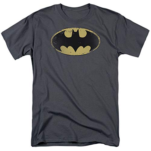 (Batman Logo Distressed Vintage DC Comics T Shirt & Exclusive Stickers (X-Large) Charcoal)