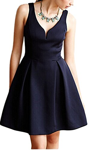 EkarLam Women's 1950s V-Neck Vintage Rockabilly Swing Evening Framed Dress Royalblue US 12/UK 14/AU 14(Tag (Fancy Dress Uk)