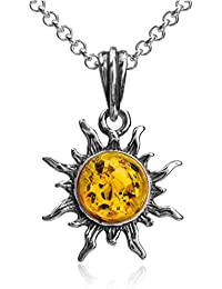 """Amber Sterling Silver Flaming Sun Pendant Necklace Chain 18"""""""